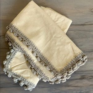 Anthropologie Cream and Grey cloth Napkins